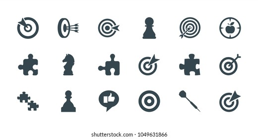 Strategy icons. set of 18 editable filled strategy icons: target, puzzle, dart, chess horse, chess pawn, pawn, arrows in target, thumb up