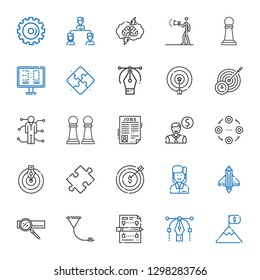 strategy icons set. Collection of strategy with goal, vector, planning, funnel, search engine, startup, employee, target, puzzle, structure. Editable and scalable strategy icons.