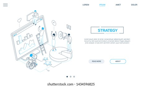 Strategy - line design style isometric web banner on white background with copy space for text. Website header with male, female SMM specialists analyzing the results, computer monitor with diagrams