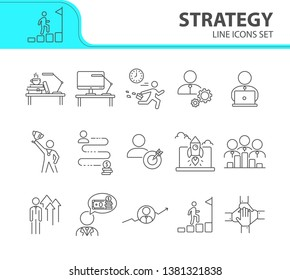Strategy line icon set. Businessman, late for work, leader, goal. Business concept. Can be used for topics like success, achievement, career promotion, growth