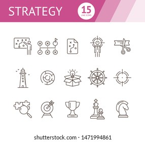 Strategy line icon set. Line icons collection on white background. Trophy, aim, goal. Start-up concept. Can be used for topics like achievement, logic, development