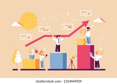 Strategy of long term planning vector illustration. Businessman building up analyzing project financial report and successful business development. Team working with graph chart and growth arrow