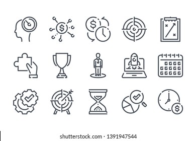 Strategy related line icon set. Business analytics and marketing action linear icons. Plan and forecast outline vector signs and symbols collection.