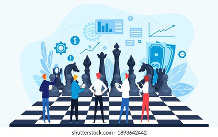 Strategy, strategic management vector illustration concept. Businesspeople on chessboard, data analysis, strategy planning and successful business. Managers strategist in marketing process.