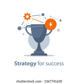 Strategy for success, win prize, reward program, golden cup, game trophy, award ceremony, big accomplishment, first place bowl, vector icon, flat illustration
