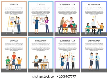 Strategy and successful team, business idea and office work, working task, text samples and lettering with busy people isolated on vector illustration
