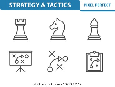 Strategy & Tactics Icons. Professional, pixel perfect icons optimized for both large and small resolutions. EPS 8 format. 3x size for preview.