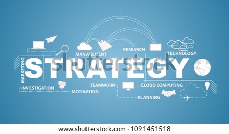 strategy text infographic design graphic concept over a blue background