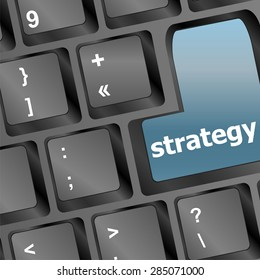 Strategy text with thumbs up symbol on keyboard - vector vector