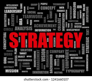 Strategy word cloud collage, business concept background.