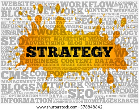 Strategy Word Cloud Collage Technology Business Stock Vector