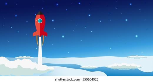 Stratosphere flat modern design. Rocket Space vector illustration