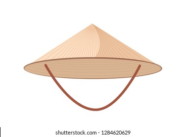 bac4950d5fc Straw Asian conical or rice hat with strap isolated on white background.  Woven head accessory