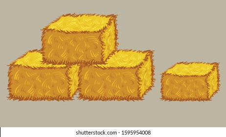 straw bales hay. Vector illustration with a dry yellow hay for animals