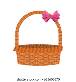 straw basket with pink bow icon image