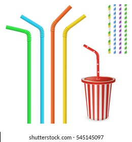 Straw for beverage. Striped and colorful straws. Drinking straw isolated on a white background. Plastic fastfood cup for beverages with straw.