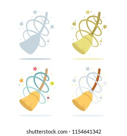 Straw broom. Straw broom illustration. Сleanness concept. Clean house icon.