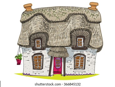 straw covered traditional vintage house - cartoon