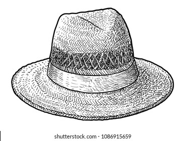 Straw hat illustration, drawing, engraving, ink, line art, vector