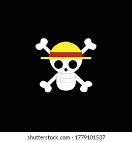 Straw hat pirate logo. Isolated vector