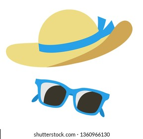 Straw hat and sunglasses icon set