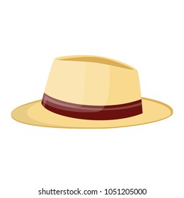 straw hat. Straw sunhat isolated on white. summer bonnet. Vector illistration in flat style