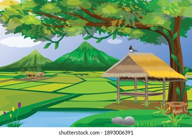 straw hut  in paddy field at countryside with beautiful nature vector design