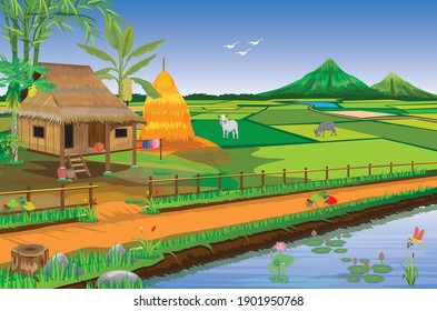 straw hut and paddy field at countryside vector design