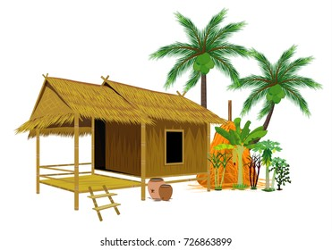 straw hut  with vegetable vector design