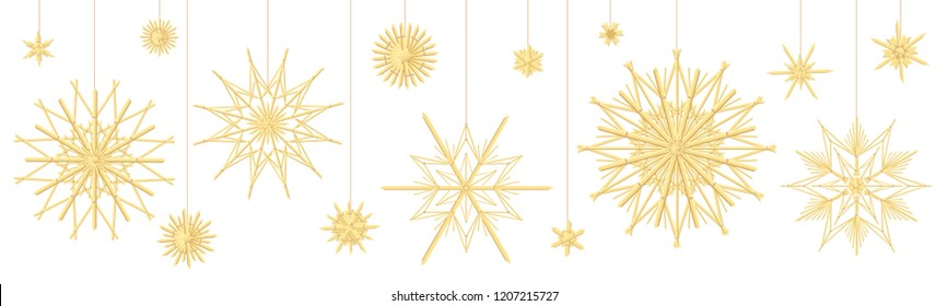 Straw star collection. Traditional handmade christmas decoration. Vector illustration on black background.