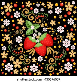 Strawberries and flowers on a dark background