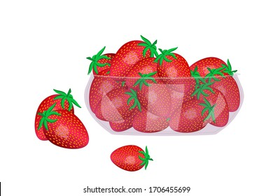 Strawberries in glass bowl isolated on white background. Beautiful juicy berries in deep dish plate. Heap of ripe strawberries. Kitchenware design element. Bountiful harvest. Stock vector illustration