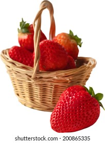 Strawberries in a little wicker basket isolated on white background