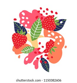 Strawberries on abstract background. Vector illustration