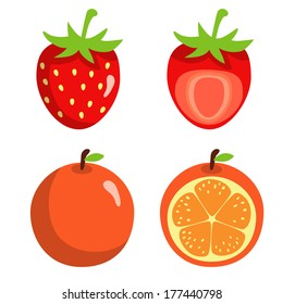 Strawberries and oranges isolated on white background. Abstract design logo. Logotype art - vector
