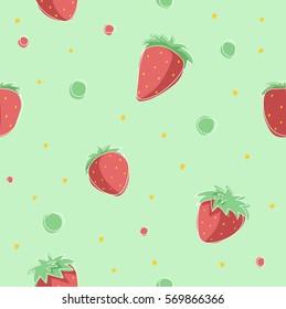 Strawberries pattern - vector