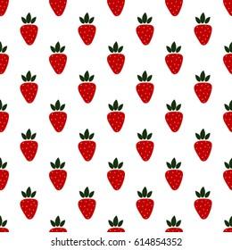 Strawberries seamless hand drawn vector pattern