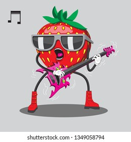 Strawberries in sunglasses playing guitar heavy music. Vector image. Eps
