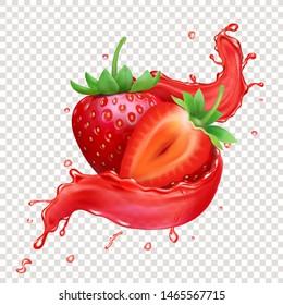 Strawberry 3d realistic transparent splash of juice.