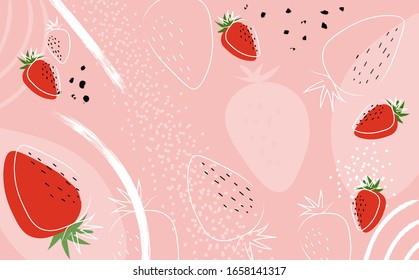 Strawberry abstract hand drawing pink background. Banner for a bar / cocktail / milk shake poster. Illustration of a drink for menu or packaging design