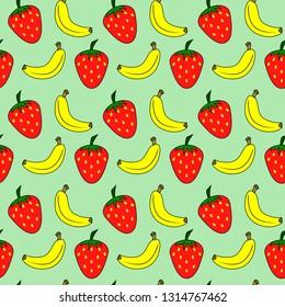 strawberry and banana seamless pattern green background