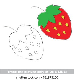 Strawberry to be traced only of one line, the tracing educational game to preschool kids with easy game level, the colorful and colorless version.