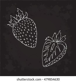 Strawberry berry vector Illustration. Object isolated on black background. Doodle style. Cloth design, wallpaper, wrapping, menu, restaurant,cafe,kitchen,textile,paper, cards invitation,holiday. Eps10