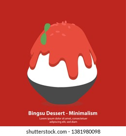 strawberry bingsu or kakikori korean dessert - Minimalism illustration vector
