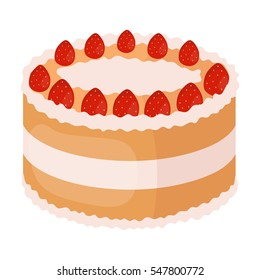 Strawberry cake icon in cartoon style isolated on white background. Cakes symbol stock vector illustration.