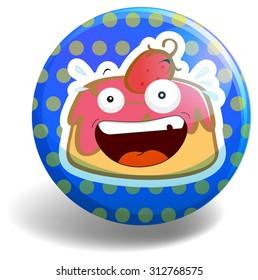 Strawberry cake on round badge illustration