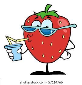 Strawberry Cartoon Character Juice Drink
