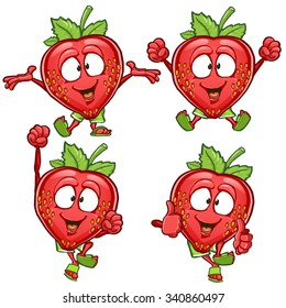 Strawberry cartoon character set with different emotions and poses isolated on white background