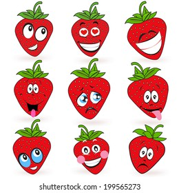 Strawberry cartoon expressions smileys vector