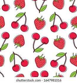 Strawberry and cherries pattern design. Berries pattern with strawberries and cherries